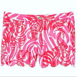 """Lilly Pulitzer 5"""" scallop Hem Short Pink & Red sz6"""